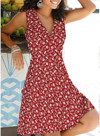 Print/Floral Sleeveless A-line Knee Length Casual/Vacation Skater Dresses