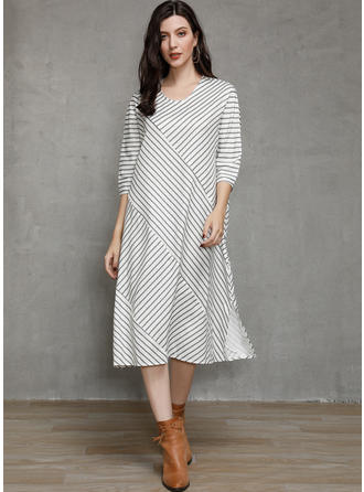 Striped 3/4 Sleeves Shift Midi Casual Dresses