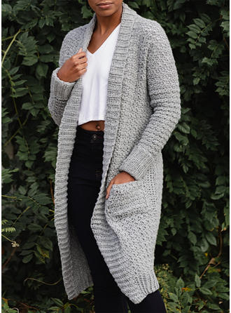 Solid Grid Chunky knit Pocket Cardigan