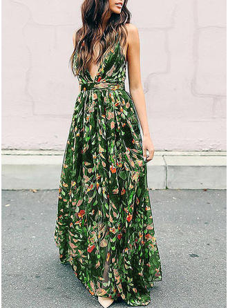 Print/Floral Sleeveless A-line Maxi Casual/Party/Boho/Vacation Dresses