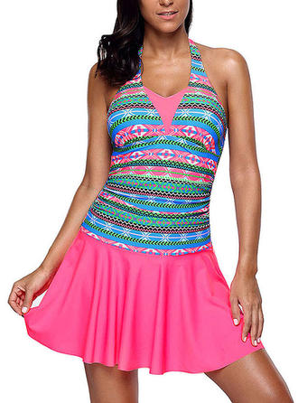 Colorful Halter Swimdresses Swimsuit
