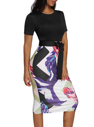 Print Short Sleeves Bodycon Midi Casual/Elegant Dresses
