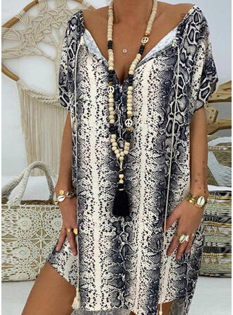 Print/Animal Print Short Sleeves Shift Above Knee Casual Dresses