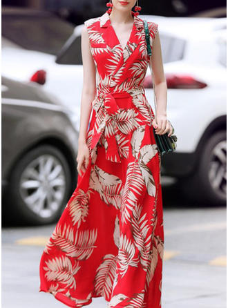 Floral V-neck Maxi Shift Dress
