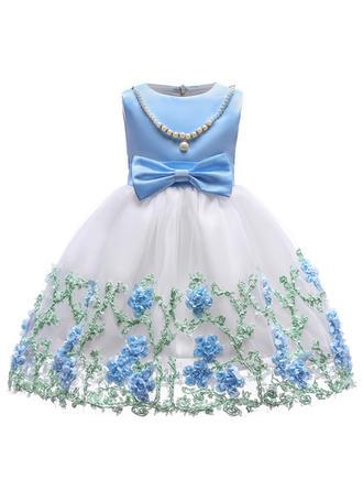 Meninas Neck redonda Floral Renda Lantejoulas Arco Bonito Festa Menina das flores Vestido