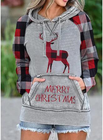 Dierenprint Lange Mouwen Kerst Sweatshirt