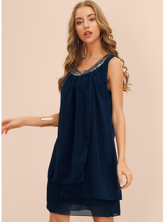 Sequins/Solid Sleeveless Shift Above Knee Casual Dresses