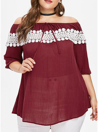Solid Lace Off the Shoulder 1/2 Sleeves Casual Plus Size Blouses