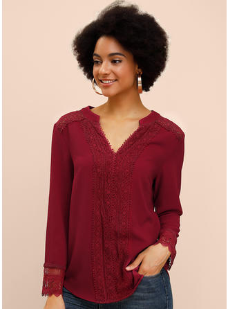 Solid Lace V Neck Long Sleeves Casual Elegant Blouses