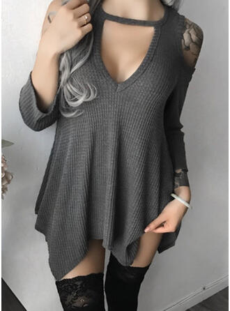 Solid Cold Shoulder 3/4 Sleeves Casual T-shirts