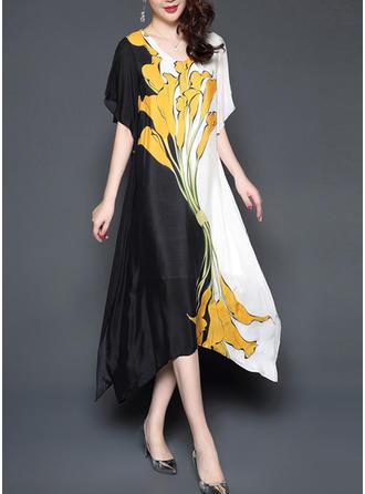 Floral V-neck Midi Shift Dress