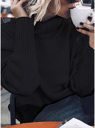 Viscosa Cuello De Tortuga Color sólido Suéteres
