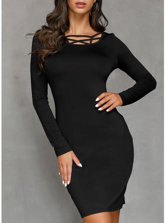Solid Long Sleeves Bodycon Knee Length Little Black/Sexy/Casual Dresses