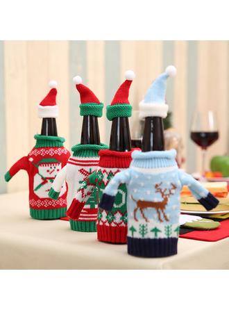Reno Papa Noel Navidad Tejido Madera Tapa de la botella