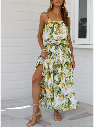 Print Sleeveless A-line Casual/Boho/Vacation Midi Dresses