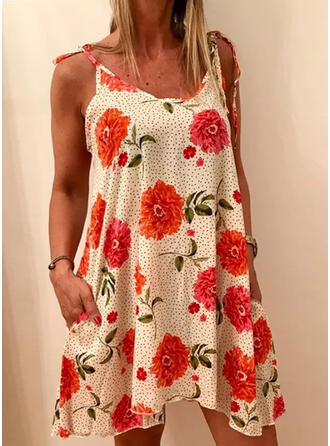 Print/Floral Short Sleeves Shift Above Knee Sexy Dresses