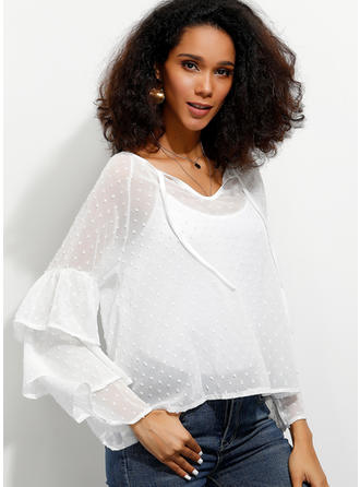 Solid V Neck Flare Sleeve Long Sleeves Casual Elegant Blouses