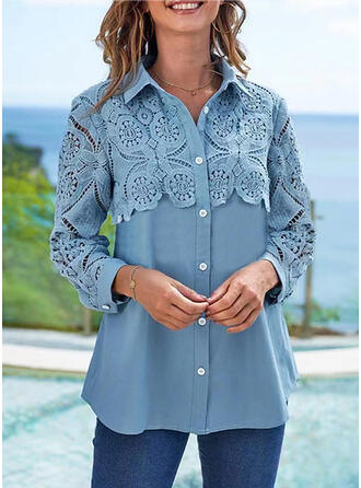 Einfarbig Revers Lange Ärmel Lässige Kleidung Blusen