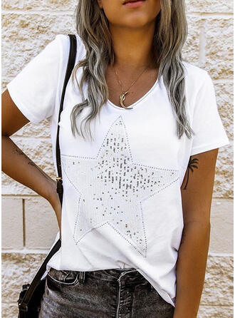 Sequins Round Neck Short Sleeves Casual T-shirts (1003315574)