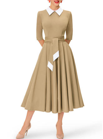 Solid Shirt collar Midi A-line Dress