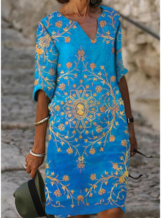 Print/Floral 1/2 Sleeves Shift Knee Length Casual/Vacation Dresses