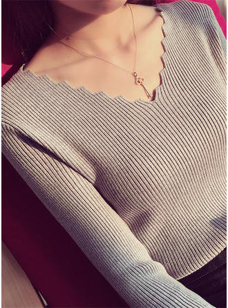 Acrylic V-neck Ribbed Sweater