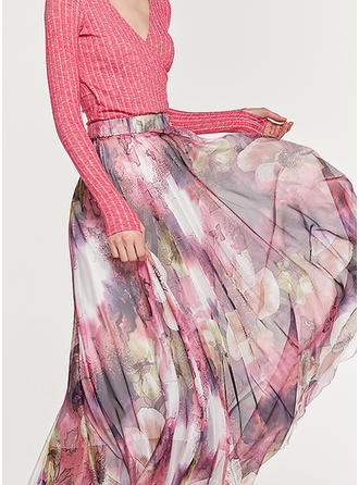 Polyester Floral Maxi A-Line Skirts