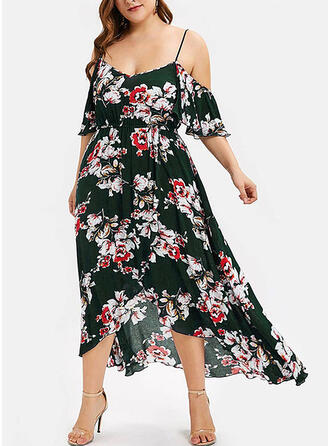 Print/Floral 1/2 Sleeves A-line Asymmetrical Casual/Plus Size Dresses