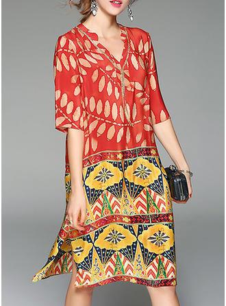 Print 1/2 Sleeves Shift Knee Length Casual/Elegant Dresses