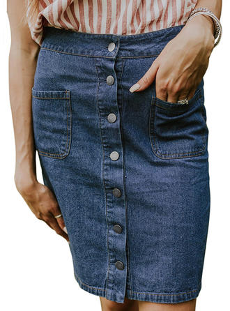 Treillis Couleur unie longueur au genou Demin Jupes
