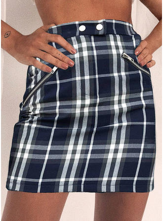 Polyester Plaid Above Knee Bodycon Skirts