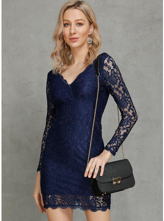 Lace/Solid Long Sleeves Bodycon Knee Length Sexy/Casual/Party/Elegant Dresses
