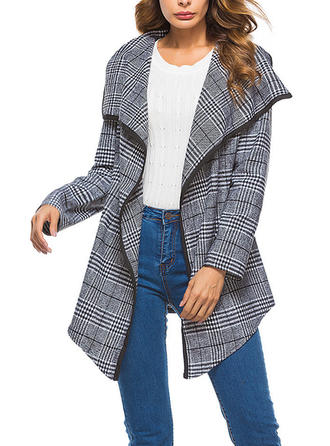 Cotton Long Sleeves Houndstooth Trench Coats