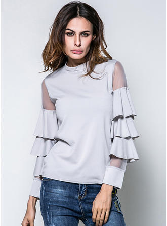 Cotton Blends Stand-up Collar Plain Flare Sleeve Sheer Blouses