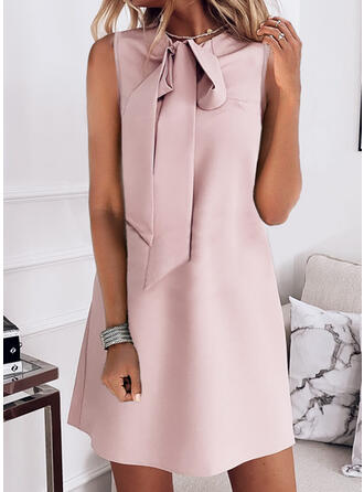 Solid Sleeveless Shift Above Knee Elegant Dresses