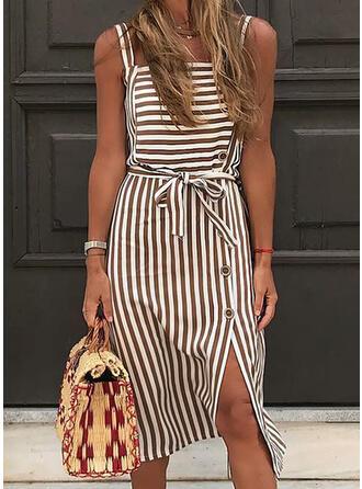 Striped Sleeveless Sheath Knee Length Casual/Vacation Dresses