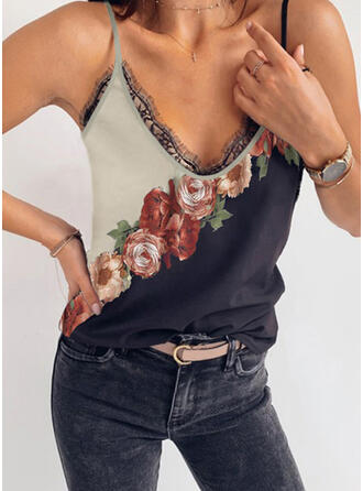 Print Floral Lace Spaghetti Strap Sleeveless Casual Sexy Tank Tops