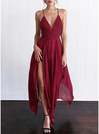 Solid Sleeveless Shift Asymmetrical Sexy/Casual Dresses