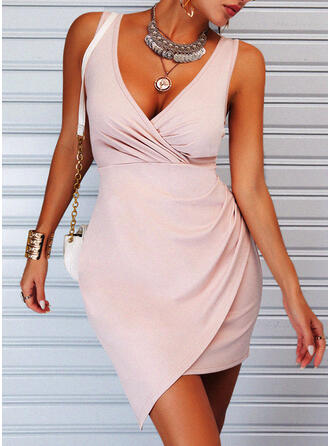 Solid Sleeveless Sheath Above Knee Elegant Dresses