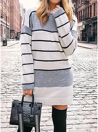 Striped Cable-knit Chunky knit Round Neck Sweater Dress