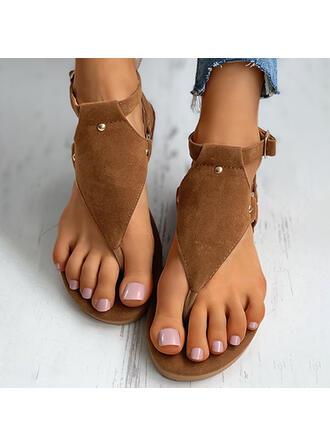 Women's Suede Flat Heel Sandals Flip-Flops Slippers With Buckle Flower shoes