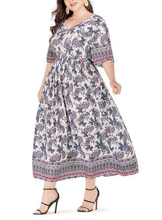 Print 3/4 Sleeves A-line Vacation/Plus Size Midi Dresses
