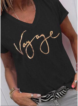 Figur Trykk V-hals Kortermer T-skjorter