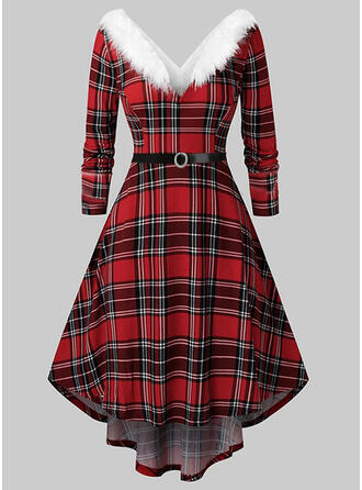 Plaid Long Sleeves A-line Asymmetrical Christmas/Party Skater Dresses