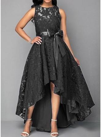 405faebac7e2 γρηγορη ματια Δαντέλα Αμάνικο Φαρδύ κάτω Ασύμμετρο Πάρτι Κομψό φορέματα