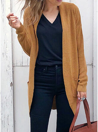 Solid Pocket Plain Cardigan