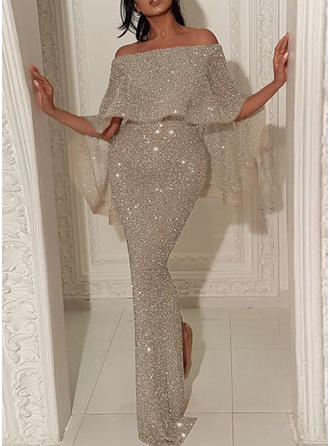 Sequins/Solid 1/2 Sleeves Bodycon Maxi Party/Elegant Dresses
