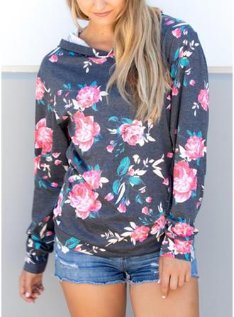 poliéster mezcla de algodón Impresión Floral con capucha