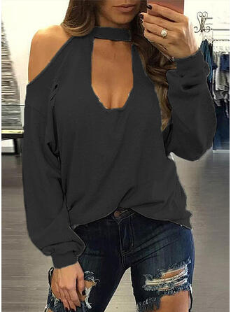 Solid Cold Shoulder Long Sleeves Casual T-shirts