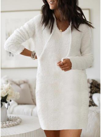 Jednolita Długie rękawy Koktajlowa Nad kolana Casual Bluza Sukienki